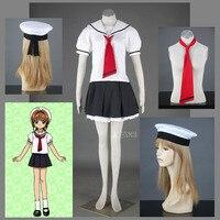 Athemis Halloween Cardcaptor Sakura Primary School Girl Summer Uniform Cosplay Costume Hat Tie Dress Custom Made