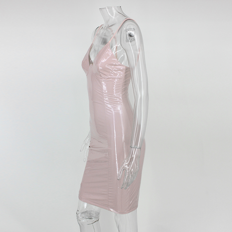Black Pink Bodycon Zipper Latex Club Wear Mini Dress