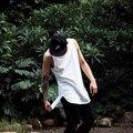 Japonês punk hip-hop sem mangas colete camisa BBOY popping masculino respirável hem no longo arco