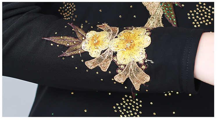 Бархатная теплая футболка с вышивкой зимняя водолазка уплотненная Модная рубашка с длинными рукавами и цветочным принтом повседневные топы, футболка s