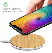 Fast Wireless Charger Bamboo Charging Pad 10W with Matte Aluminum Universal Newest Model for iPhone 8/ 8 Plu
