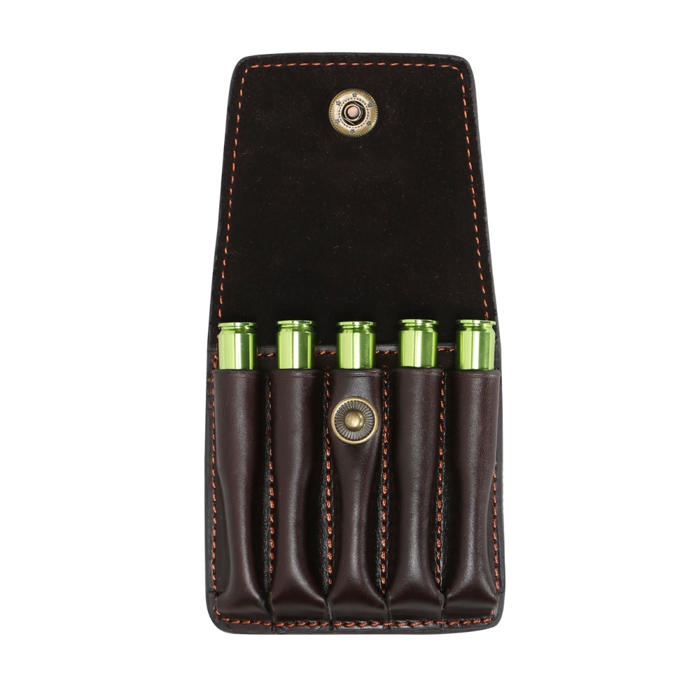 Tourbon Hunting Rifle 5 Cartridge Shells Holder Ammo Shells Carrier Hang To The Waist Belt Top Grain Leather