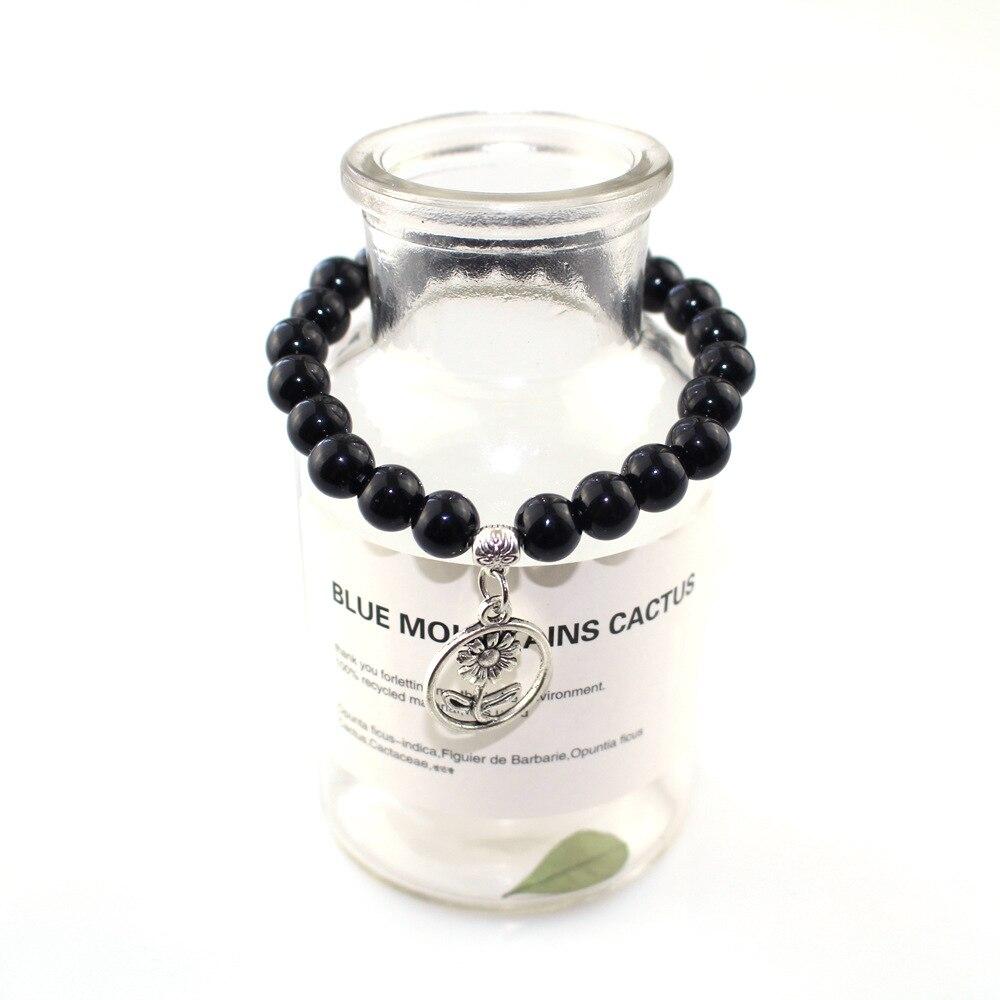 Vintage 8mm Obsidian Beads Silver Plated Flowers Couple Lovers Men Women's Bracelet