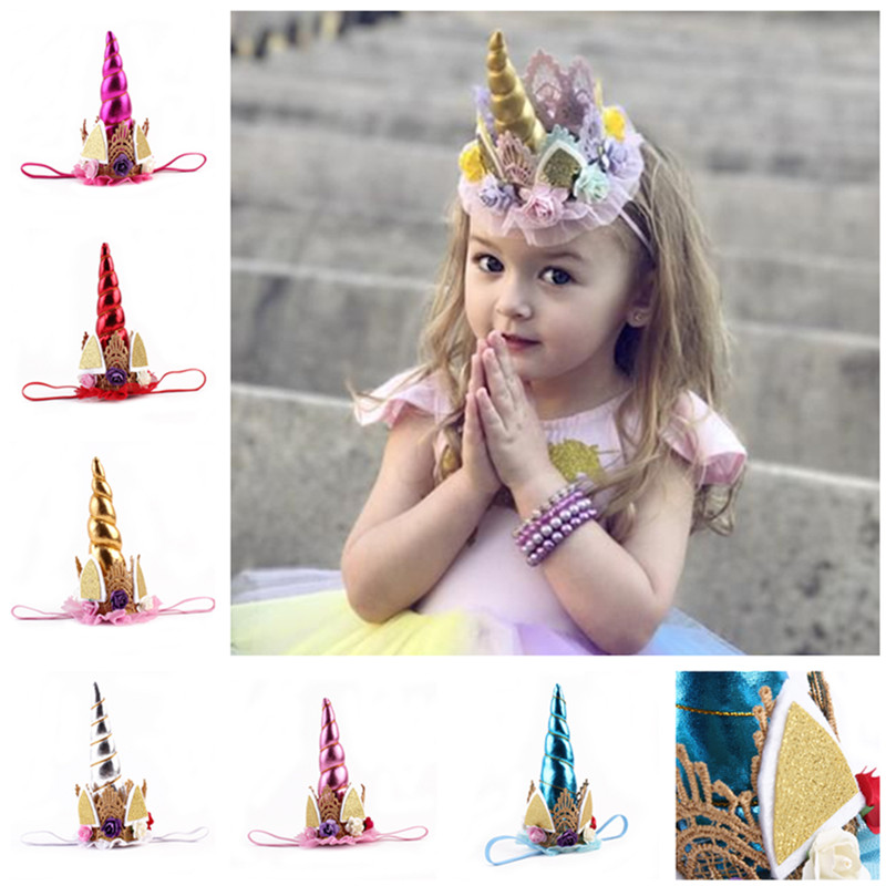 1PC Glitter Metallic Unicorn Headband Girls And Kids 2017 DIY Felt Unicorn Horn Headband Unicorn Party Hair Accessories elegant mini felt glitter crown with pretty flowers headband for birthday wedding party diy crafts hair decorative accessories