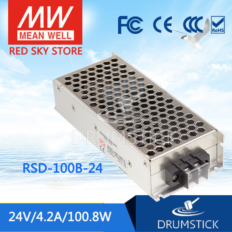 цена на Hot sale MEAN WELL RSD-100B-24 24V 4.2A meanwell RSD-100 24V 100.8W Railway Single Output DC-DC Converter