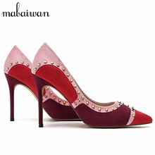 Sexy Rivets Studded Women Pointed Toe High Heels Wedding Dress Shoes Woman Zapatos Mujer Stiletto Women Pumps Valentine Shoe