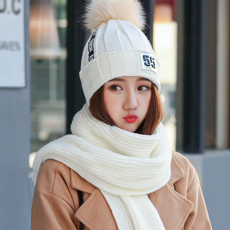 New arrival women winter hats fashion hair ball letter beanie with scarf lady neck warm knitted cap winter scarves skullies free shipping main board for brother mfc 465cn mfc 465 mfc 465cn 465 formatter board mainboard on sale