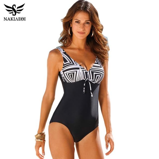 NAKIAEOI 2017 New One Piece Swimsuit Women Vintage Bathing Suits Plus Size Swimwear Beach Padded Print Polka Black Swim Wear 4XL