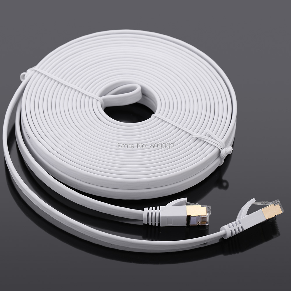 High Speed 10Gbps Cat7 SSTP RJ45 Network Flat Shielded Twisted Pair LAN Cable Internet Network Cable with Plated Connector