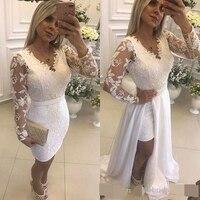 Белый жемчуг Короткие вечерние платья со съемной юбкой Иллюзия одежда с длинным рукавом кружевные вечерние платья для выпускного вечера дл