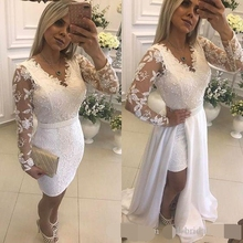 White Pearls Short Party Evening Dresses With Detachable Skirt Illusion Long Sleeves Lace Formal Prom dresses For dress