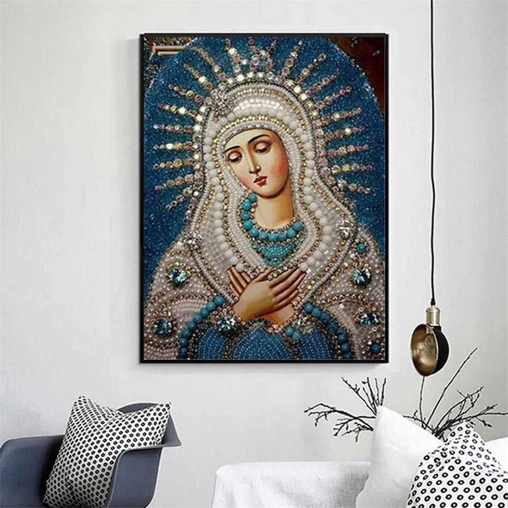 Kim Cương Khảm Biểu Tượng Kim Cương Thêu Biểu Tượng Ren Pictires Tranh Gắn Đá Full Vuông Khoan Tôn Giáo Vệ Nữ
