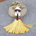 Cute KARLITO Karl Genuine Tassels Monster Bag Bugs Car Ornaments Leather Tassels Bag Charm Key Chain Fo-K008-yellow