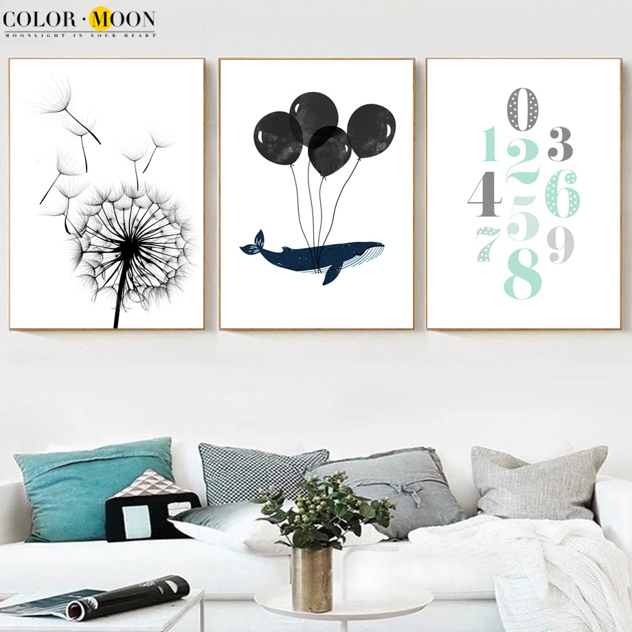 COLORMOON Dandelion Whale Number Canvas Painting Wall Art Nordic - Տնային դեկոր