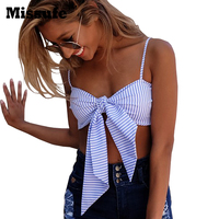 Missufe Sexy Camisole Backless Tank Tops Summer 2017 Off Shoulder Bow Striped Women Cropped Top