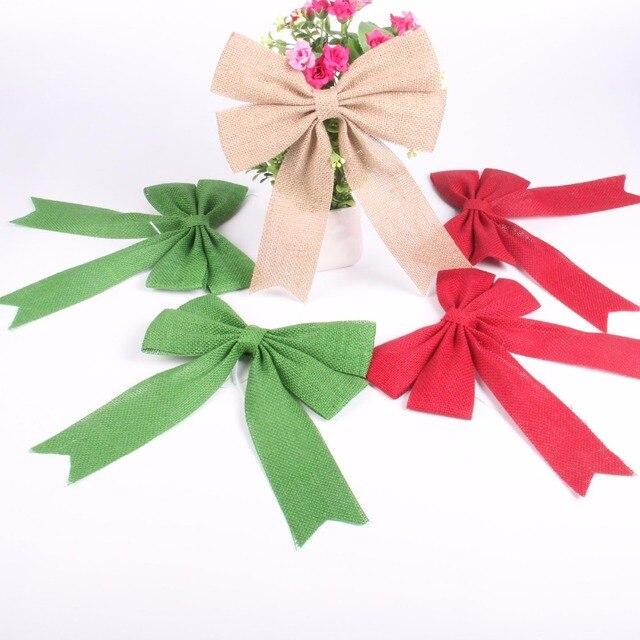 2pcsset 2125 cm christmas decor burlap ribbon bow aisle decoration rustic wedding - Burlap Ribbon Christmas Decor