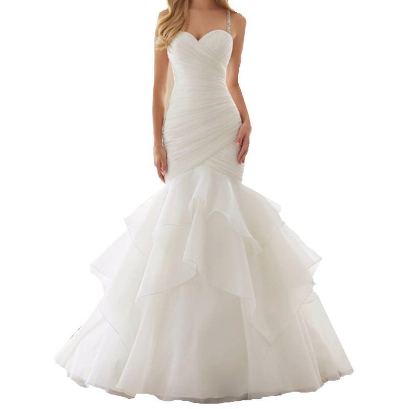 2017 Rushed Limited Tiered Draped Vestido De Novia Sexy Spaghetti Strap Wedding Dresses Bride Bridal Dress Gown Custom Made