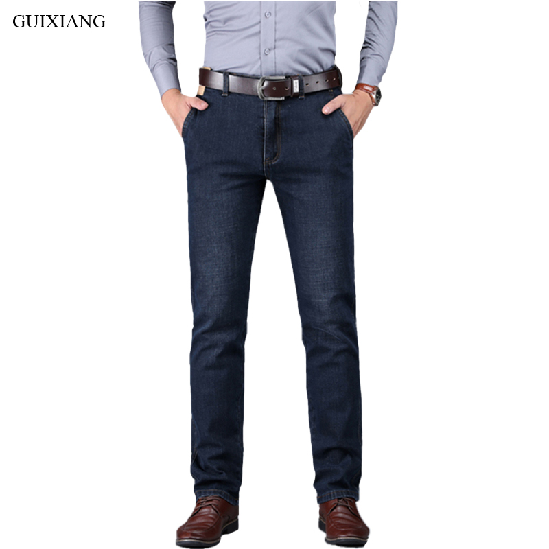 New Style Men Boutique Thick Denim Jeans High Quality Business Casual Straight Heavyweight Men's Solid Trousers Plus Size 30-42