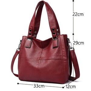Image 2 - Новая роскошная Брендовая женская кожаная сумка из натуральной кожи, повседневные сумки тоут высокого качества из мягкой овчины, женские большие сумки на плечо