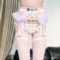 Harajuku Sexy Lolita Kawaii Handcrafted Ballet Dancing Bandge Leather Harness Elastic Lace Mesh Waist Garter Belt Suspender