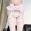Harajuku Sexy Lolita Kawaii Hecho A Mano Ballet Bandge Liguero Liguero Arnés de Malla de Encaje Elástico de La Cintura de Cuero
