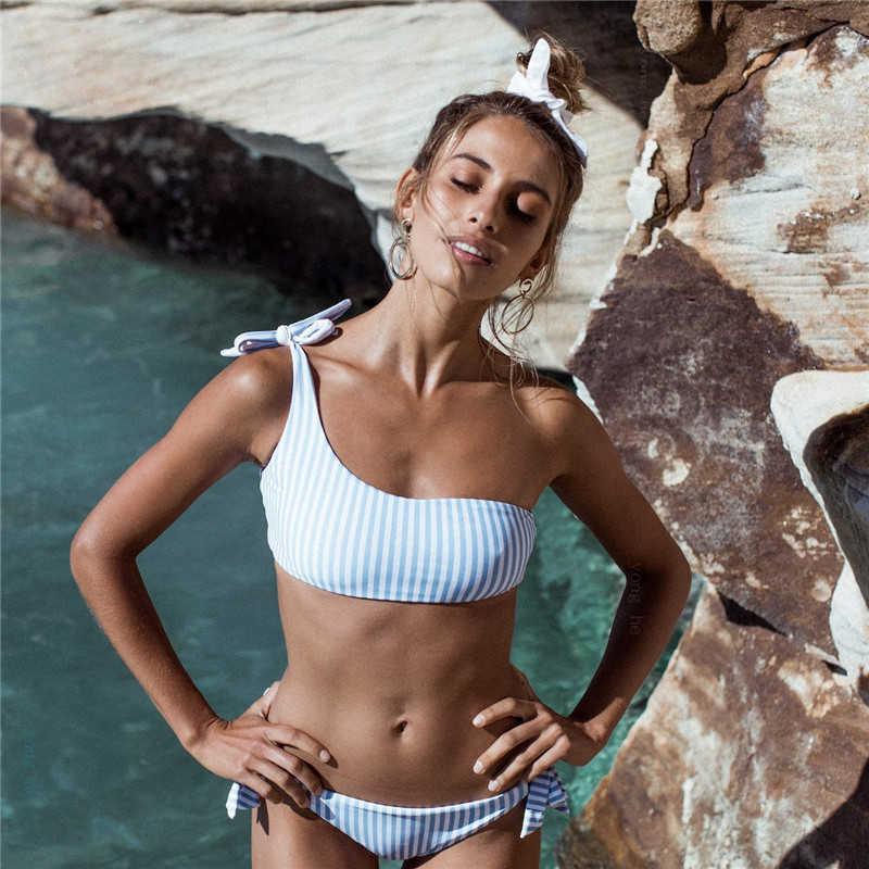 Sexy Striped Bandage Bikinis Women One Shoulder Bathing Suit Swimwear Low Waist Swimsuit Tube Top Female Summer Beachwear