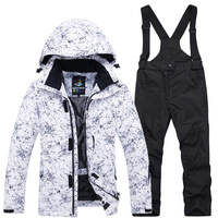 2019 New Children's Ski Suits Girls Boys Thick Waterproof White Lightning Coats and Pants 2pcs Set Kid Winter Warm Clothes Sets