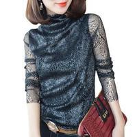 2015 Autumn New Women Plus Velvet Warm Long Sleeve High Neck Lace Shirt Ladies Tops Plus
