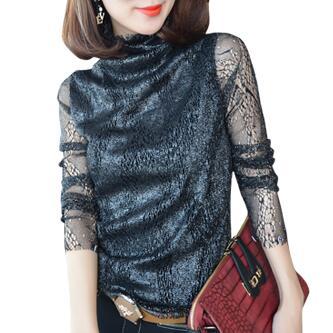 2016 Autumn New Women Plus Velvet Warm Long Sleeve High Neck Lace Shirt Ladies Tops Plus Size Vintage Blouses
