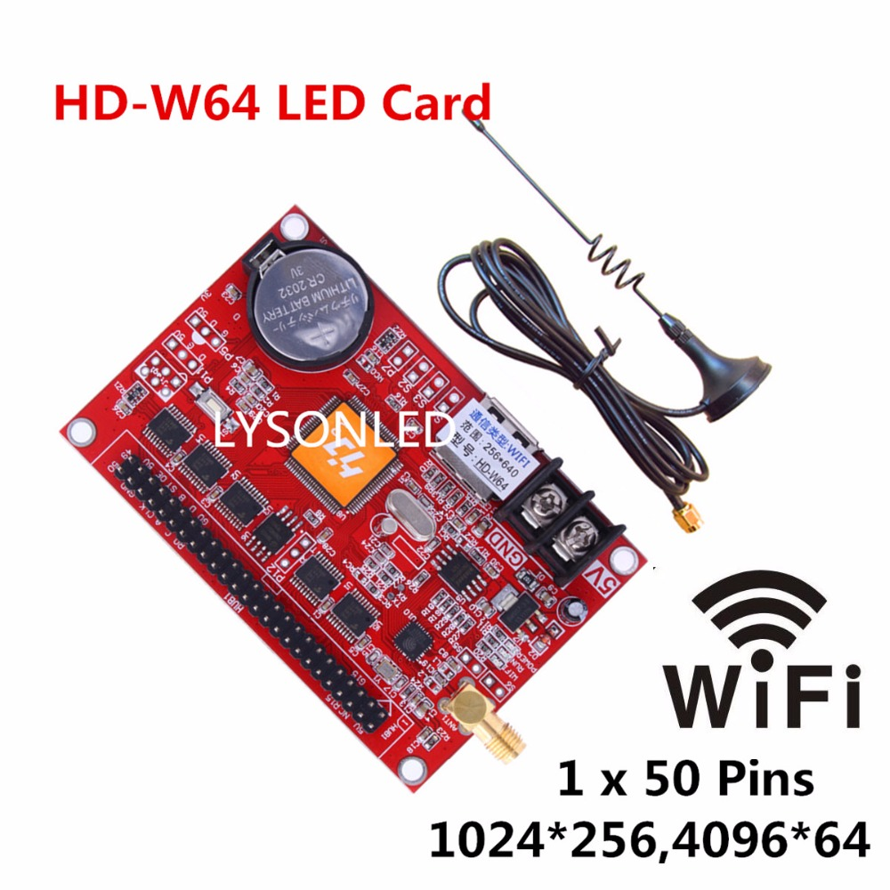 HD-W64 Large USB Driver And WIFI Wireless LED Display Card Support Single Color And Dual Color P10 Outdoor LED Message Display