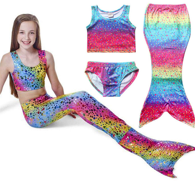 4e0c6c8c6a 3PCS Rainbow Color Girl Kids Mermaid Tail Swimwear Bikini Set Bathing Suit  Child Mermaid Tail Swimsuit Swimming Fancy Costumes