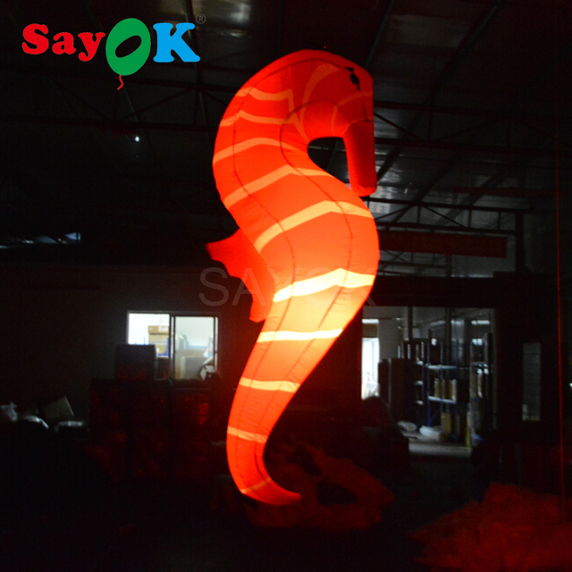 Inflatable Sea Horse Toy Light Sea Horse Decorations for Home Hanging Seamaster 2.2m Glowing with 16 Colors