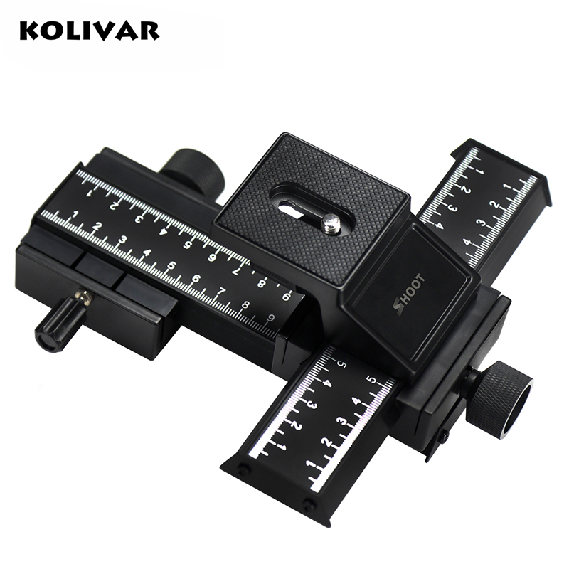 KOLIVAR SHOOT 4 Way Macro Focusing Rail Slider Close-up Gimbal For Nikon Canon Samsung Sony DSLR Camera with Standard 1/4