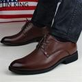 LIN REY de La Moda de Estilo Británico Zapatos de Vestir de Negocios Primavera Ata para Arriba Punta estrecha Oficina Hombres Zapatos de Trabajo Zapatos de Novia de la Boda
