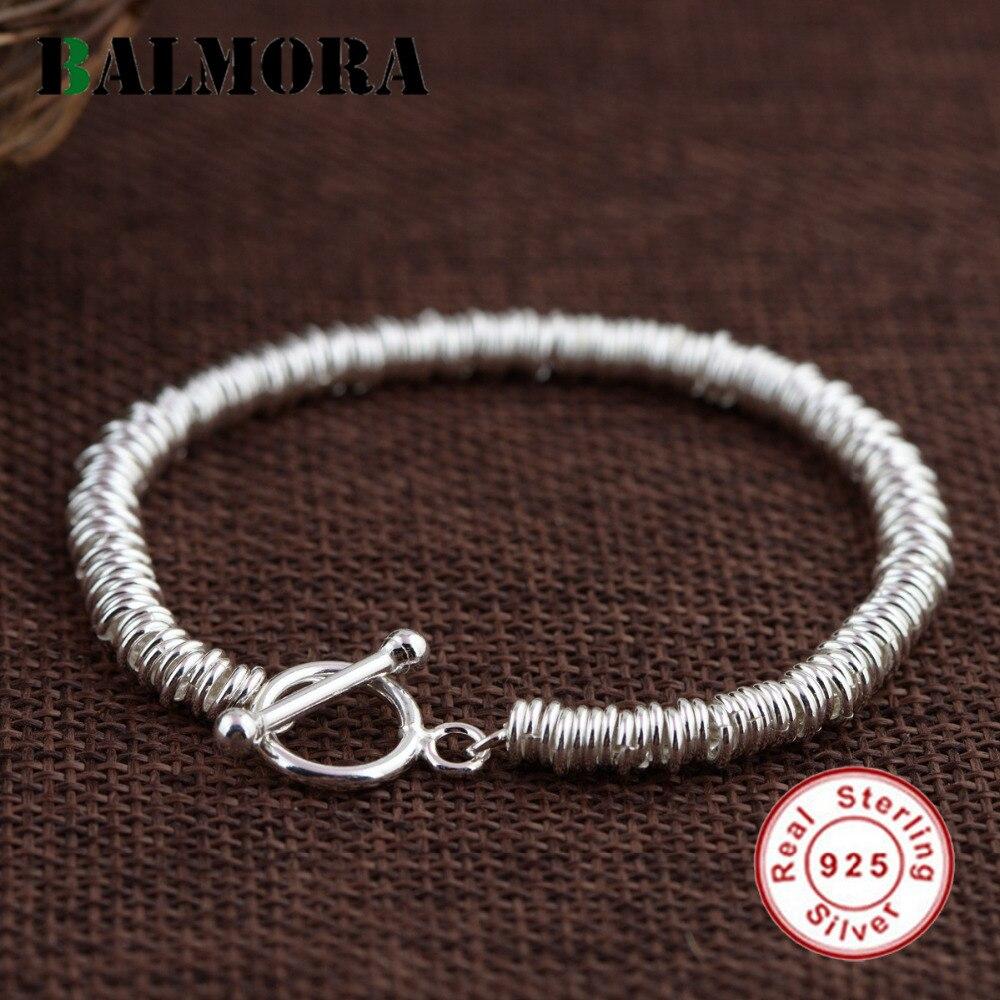 BALMORA Véritable 925 En Argent Sterling De Mode Bracelets pour les Femmes Amant Cadeau Environ 18 cm Long Bracelet Bijoux Esposas SZ0331