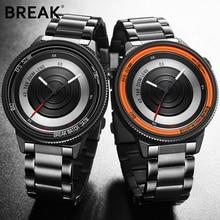 BREAK Luxury Brand Watch Rubber Band New Fashion Casual Men Women Unisex Waterproof Quartz Wristwatch Unique Creative Stop Watch