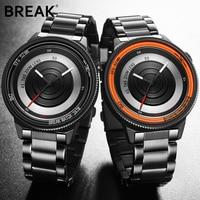 BREAK Luxury Brand Rubber Band New Fashion Casual Men Women Unisex Waterproof Quartz Wristwatches Unique Creative Sports Watches