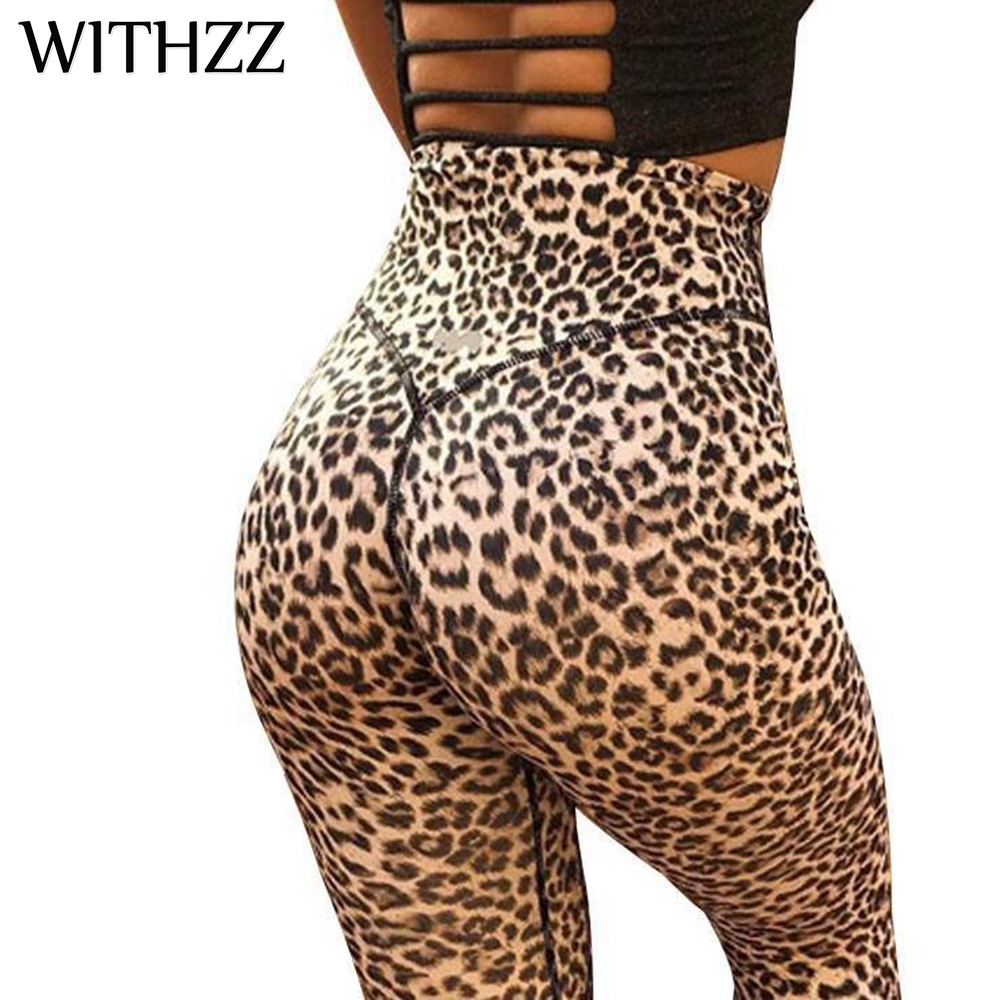 WITHZZ Animal Leopard High Waist Quick-drying Radiating Leggings Women Leggins Legins Jeggings Tayt Athleisure Sportleggings