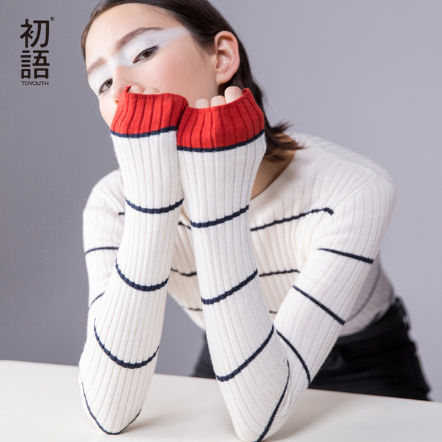 Toyouth Women Pullover 2017 Autumn O-neck Long Sleeve Contrast Color Stripe Pattern Knitted Crochet Sweater