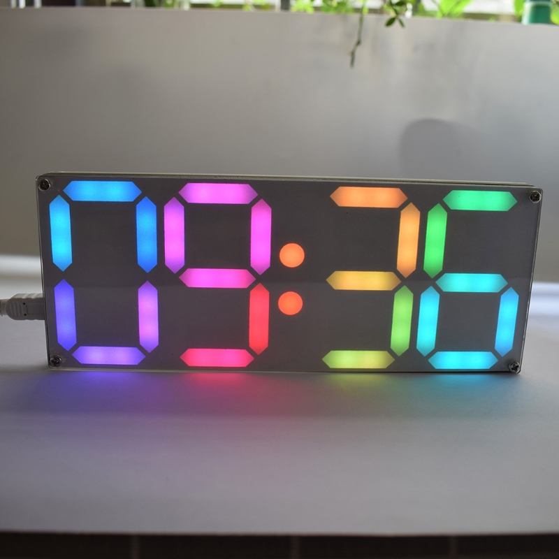 Large Inch Rainbow Color Digital Tube DS3231 Clock DIY kit with customizable colors Electronic kit Gift image