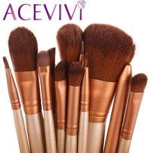 Coffee Wood 12Pcs Blending Makeup Brush Kit Professional Cosmetic Set Kit Powder Foundation Eyeshadow Eyeliner Lip Brush Tool $k