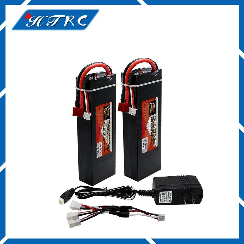 Lipo Batterie 2 pcs 7.4 V 6000 mah 2S Max 40C Li-polymre batterie Dur Cas Banane connect ...