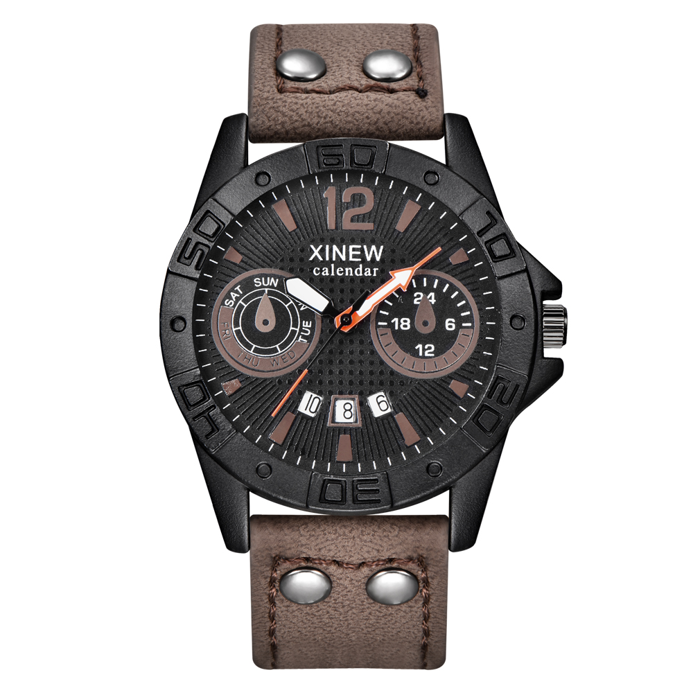 Casual Men's Military Watches Luxury Brand Male Quartz Clock Calendar Sports Man Hours PU Leather Men Wristwatch Relojes Hombre bohemian plunging neck short sleeve floral dress for women