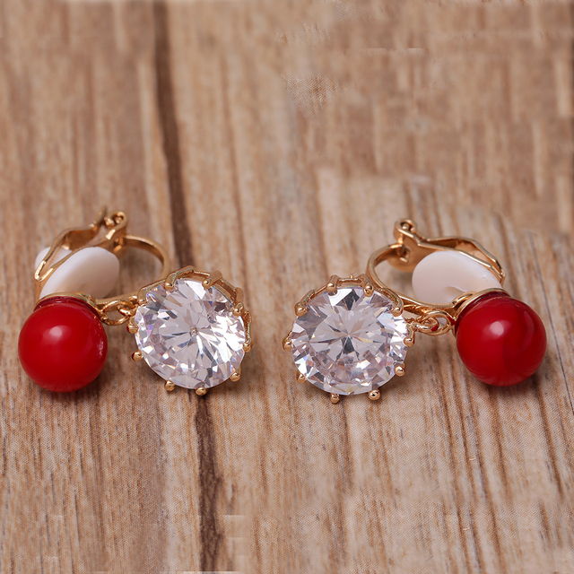 New Cz Clear Cubic Zirconia Red Beads Clip Earrings Clic Round Shape Stone Brilliant Zircon Pendant