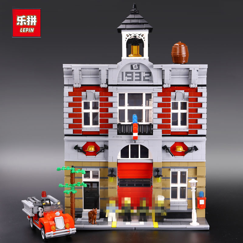 In-Stock 2313Pcs Lepin 15004 City Street Fire Brigade Model Building Kits Blocks Bricks Compatible 10197 free shipping часы nixon corporal ss matte black industrial green