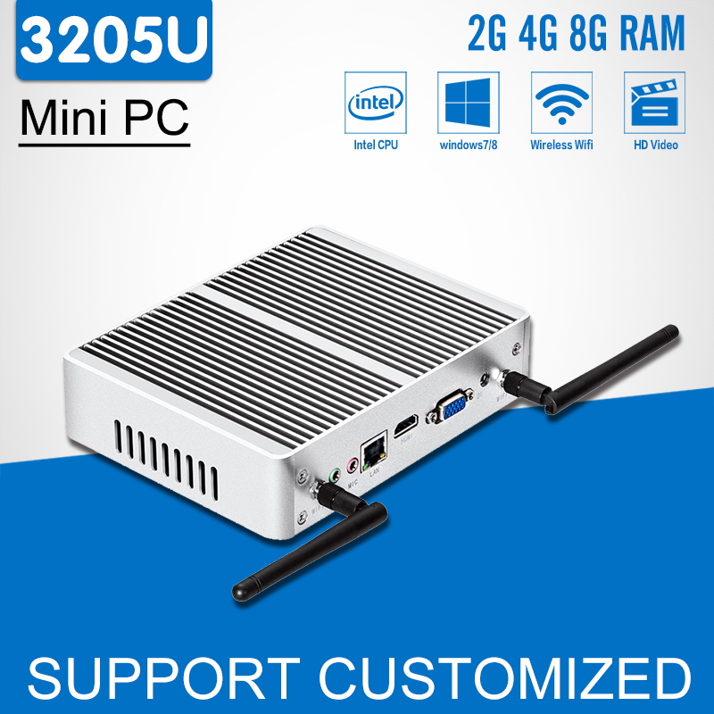 Intel Mini PC Celeron 3205U Dual Core Fanless Mini Computer Windows 10 300M wi-fi HDMI HTPC Android TV Box Office Desktop kingdel new arrival intel i3 7100u fanless mini pc windows 10 linux desktop computer 4k htpc hdmi vga max 16g ram no noise