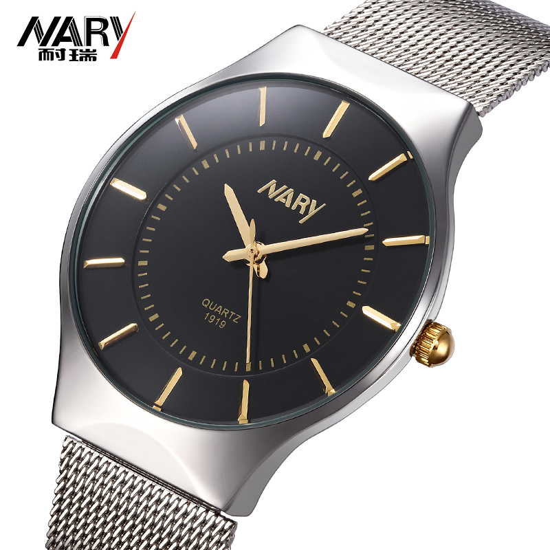 New Fashion top luxury brand NARY watches men quartz watch stainless steel mesh strap ultra thin dial clock relogio masculino lige men s watches new luxury brand watch men fashion sports quartz watch stainless steel mesh strap ultra thin dial date clock