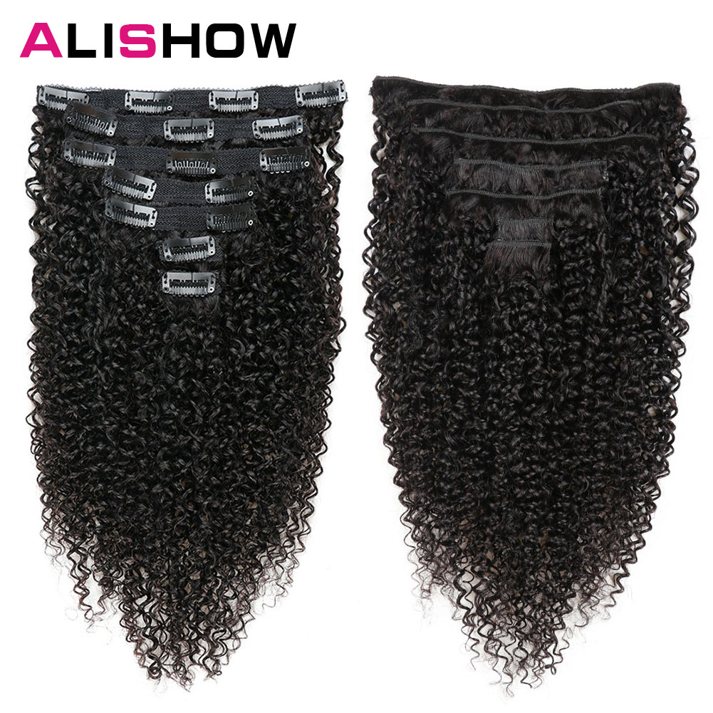 Alishow Indian Afro Kinky Curly Weave Remy Hair Clip In Human Hair Extensions Natural Color Full Head 10Pcs 120G DHL Ship Free(China)