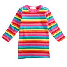 2017 Newest Colorful Rainbow Striped Girls Toddler Kids Long Sleeve Cotton Straight Dress Casual Clothes 2-7Y