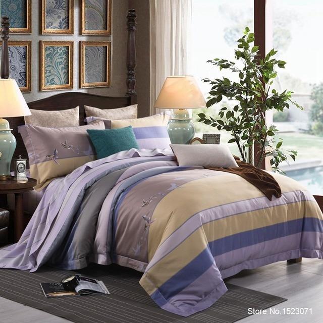 Роскошный Египетский хлопок постельных принадлежностей синий красный желтый золото сатин пододеяльник устанавливает восточные винтаж стиль постельное белье постельное белье